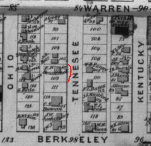 """F.N. Bennedict"" house on Lot 107 (red bracket) on 1873 Beers Atlas map sheet 33"